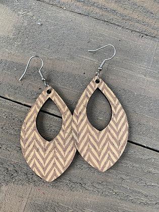 Tan Chevron Cork Teardrop Earring