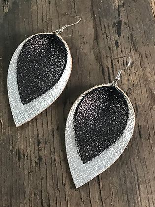 Silver and black sparkle earrings