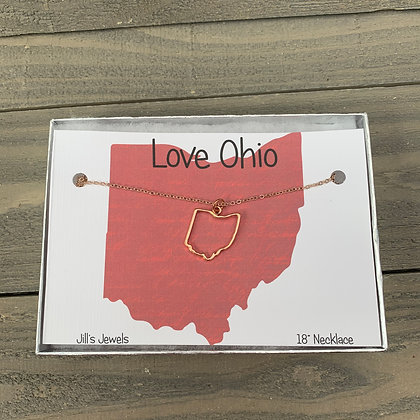 Ohio Cutout Necklace - Silver, Gold or Rose Gold