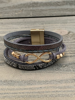 Grey and Gold Infinity Magnetic Bracelet