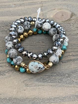 Grey and Turquoise Gemstone Triple Stacked Stretch Bracelet Set