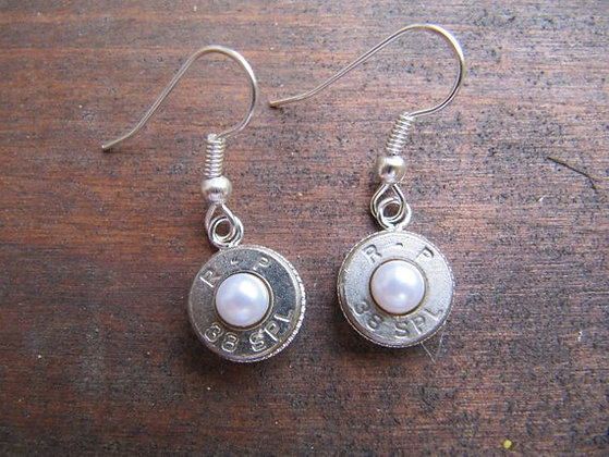 Bullet Earrings- 38 Caliber Pearl Dangle
