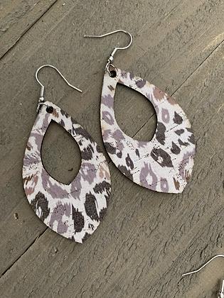 Grey and Brown Leopard Cork Teardrop Earring