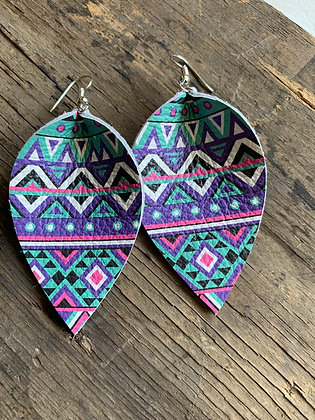 Tribal Pink, Purple and Teal leather earring