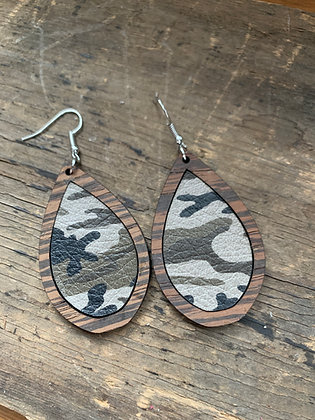 Camo Leather Wood Teardrop Earrings