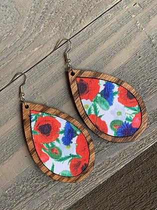 Red White and Blue Poppy Wood Teardrop Earrings