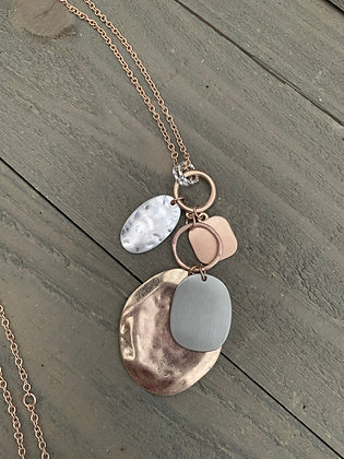 Silver and Rose Gold Coin Long Layering Necklace