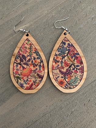 Colorful Floral Cork and Wood Teardrop Earrings