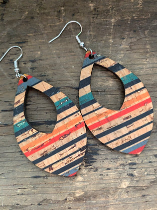 Striped Cork Teardrop Earring
