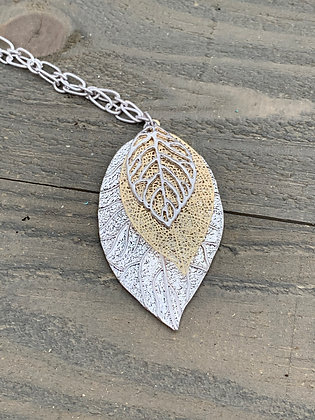 Long Silver and Gold leaf necklace