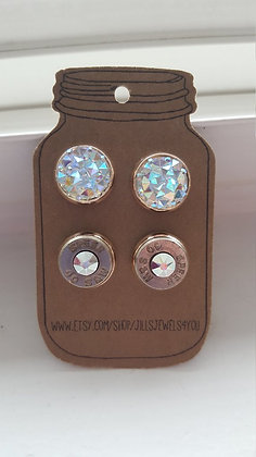 Druzy and Bullet Earrings-40 Caliber Ice