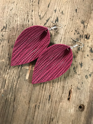 Burgundy palm leaf textured leather earring