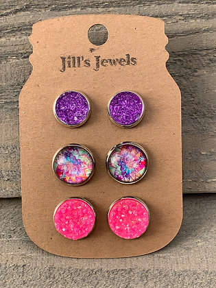 Purple and Pink Rainbow Faux Druzy Earring 3 Set
