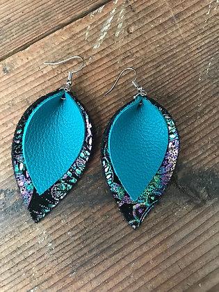 Rainbow Paisley Leather Earrings