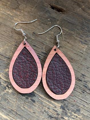 Mahogany Red Leather Wood Teardrop Earrings