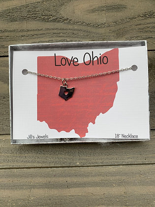 Ohio Heart Cutout Necklace - Silver, Gold or Rose Gold
