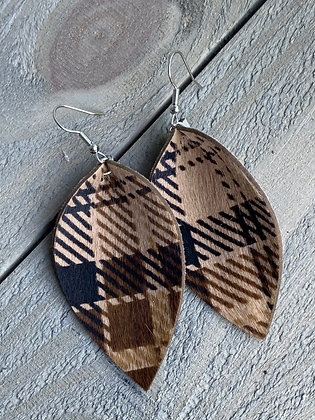 Brown Plaid hair on leather earring