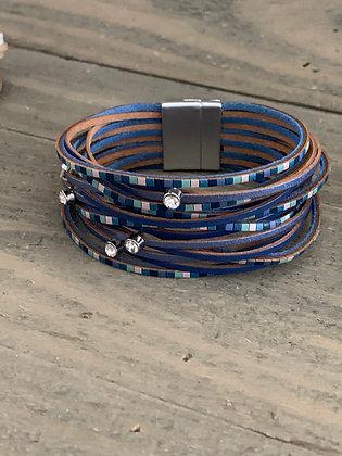 Blue Tiled Leather Magnetic Bracelet