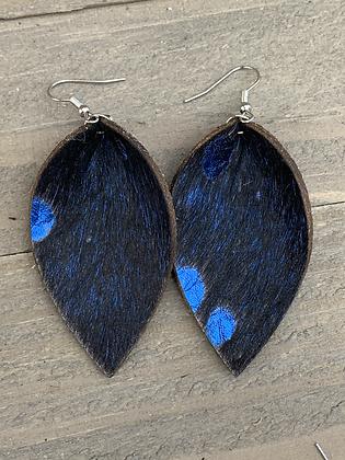 Blue Acid Wash Hair on leather earring