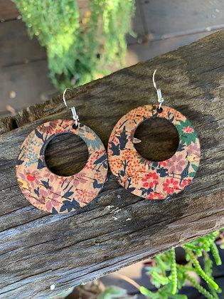 Floral Print Cork and Leather Hoop Earrings