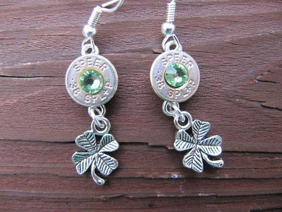 Bullet Earrings- 38 Green Lucky Charm Dangle