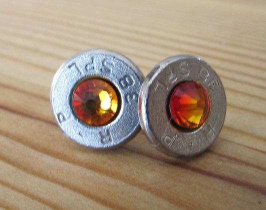 Bullet Earrings-38 Special Fire Opal Swarovski