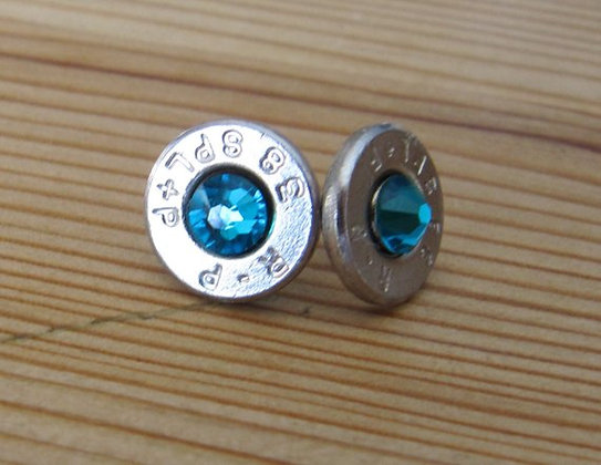 Bullet Earrings- 38 Special Blue Zircon