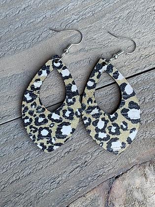 Tan Leopard Cork Teardrop Earring