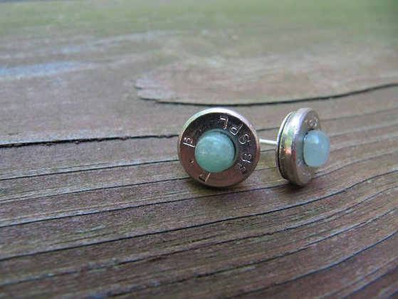 Bullet Earrings-38 Special Green Aventurine