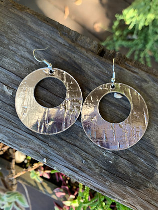 Silver Metallic Cork Hoop Earring
