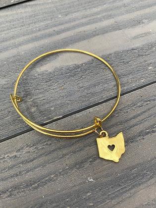 Gold Ohio Heart Cutout Bangle Bracelet