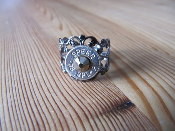 Bullet Ring-38 Special Gunmetal and Gold