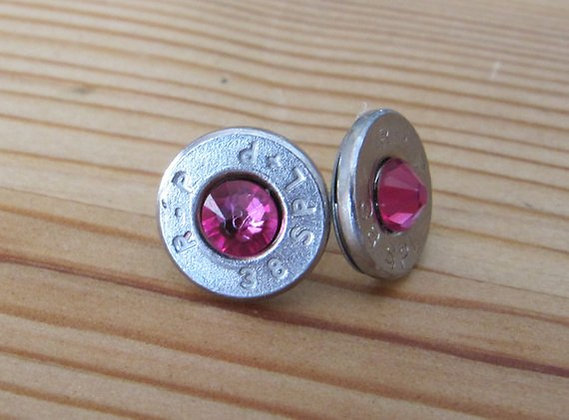 Bullet Earrings- 38 Special Fushia Swarovski