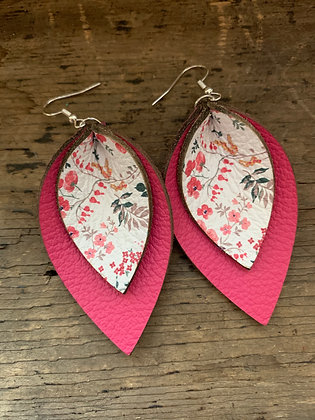 Pink Floral Double Layer Leather Earrings