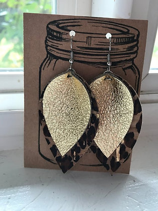 Gold and Leopard Earrings