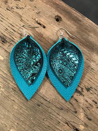 Teal Paisley Earrings