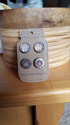 Druzy and Bullet Earrings – 45 Cal Clear Rainbow