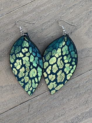 Green Metallic Leopard Leather Earrings