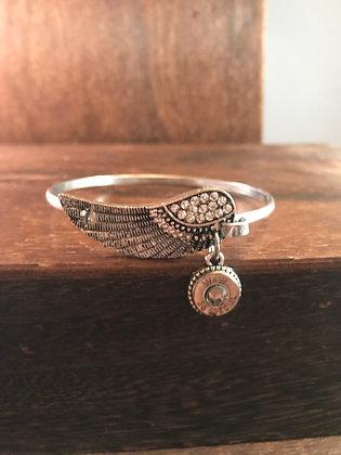 Antique silver  feather bracelet