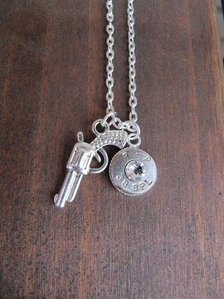 Bullet Necklace with Pistol Charm and Swarovski
