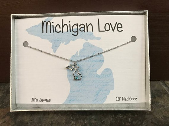 Michigan Birthstone Charm Necklace