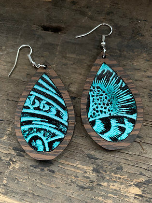Teal Western Floral Wood Teardrop Earrings