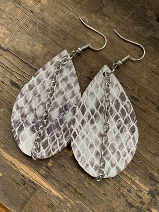 Snake Print Leather Earrings with Silver Chain