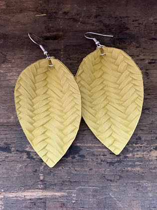 Yellow Braided Leather Earrings