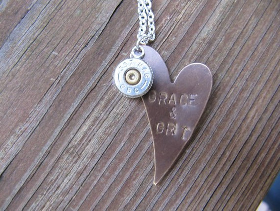 Grace and Grit Copper Stamped .357 Special Neclace