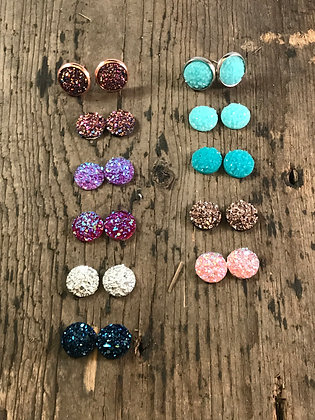 Small faux druzy earrings