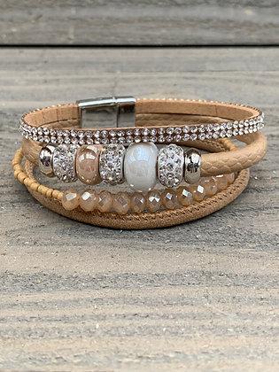 Tan Beaded Rhinestone Magnetic Bracelet