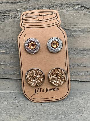 Gold Sparkle 38 Caliber bullet earring set