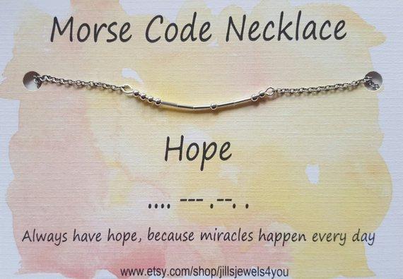 Morse Code Necklace- Hope