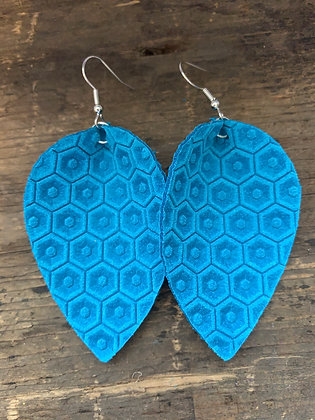 Bright Blue Honeycomb Leather Earrings